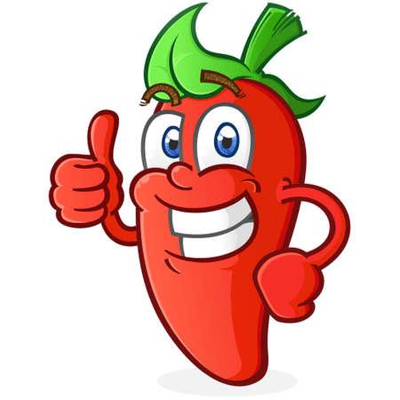 Un personaje de dibujos animados de pimiento jalapeño al rojo vivo dando un entusiasta pulgar hacia arriba de aprobación Ilustración de vector