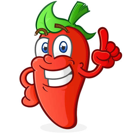 Hot Pepper Cartoon Character Pointing an Index Finger