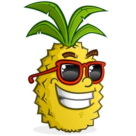 Una caricatura de piña amarilla sarcástica con gafas de sol y sonriendo con actitud