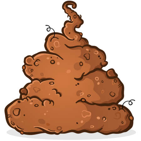 Pile of Stinky Putrid Poop Cartoon Illustration
