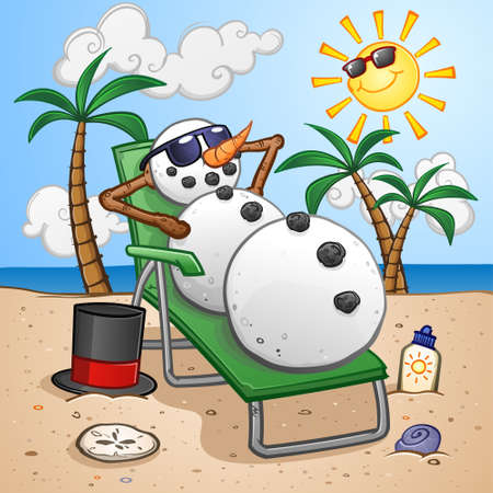 Snowman Cartoon Character on Vacation in the Tropics and Relaxing on a Beach Chair Vectores