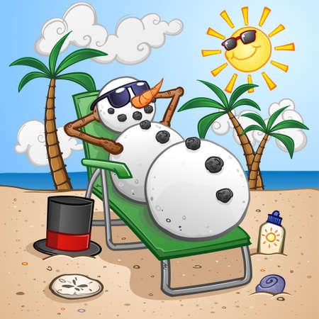 Personaje de dibujos animados de muñeco de nieve de vacaciones en los trópicos y relajarse en una silla de playa