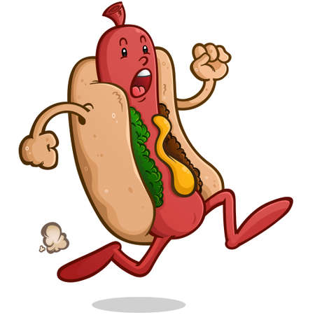 Frantic Hot Dog Cartoon Character Running Away from Danger in a Panic