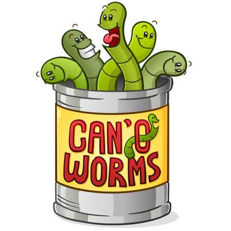Lata de personaje de dibujos animados de gusanos