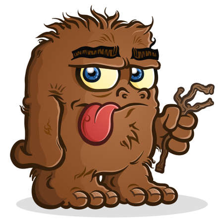 Bigfoot Sasquatch cartoon character with a nonchalant expression, sticking his tongue out and holding a stick 矢量图像