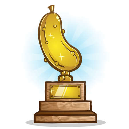 A Golden Pickle Trophy on a wooden stand with a commemorative plaque for engraving