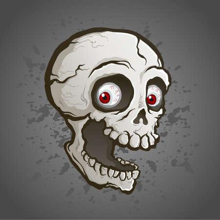 Un malvagio teschio fantasma galleggiante con una mascella spalancata e denti storti contro uno splatter scuro con occhi rossi abbaglianti Vettoriali