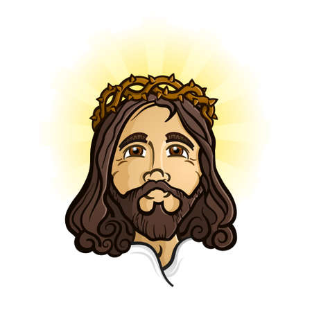 Jesus Christ the Holy Savior and Son of God Cartoon Character 矢量图像