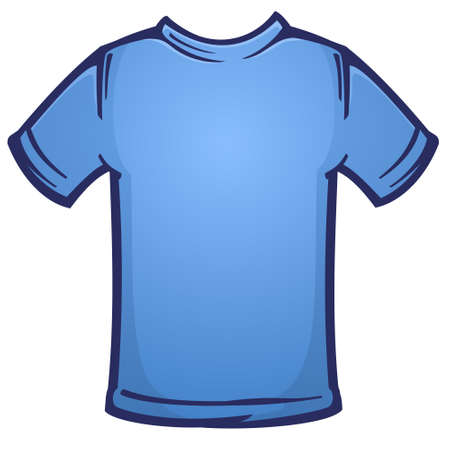Blank Blue Tee Shirt Blank Cartoon Vector Illustration