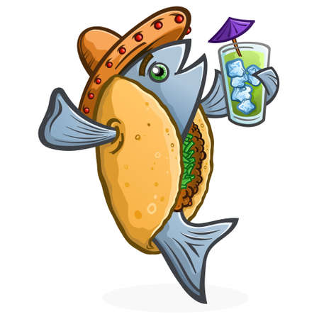 Fish Taco Cartoon Character Holding a Tropical Drink