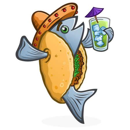 Personaje de dibujos animados de taco de pescado sosteniendo una bebida tropical