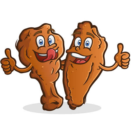 Two chicken wing cartoon illustrations giving hugs and giving thumbs up
