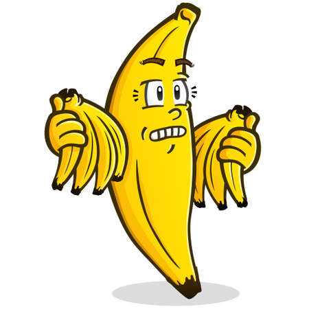 A concerned looking banana illustration holding bunches of ripe yellow bananas