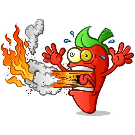 Hot Pepper Cartoon Erupting Fire out his Mouth Illustration