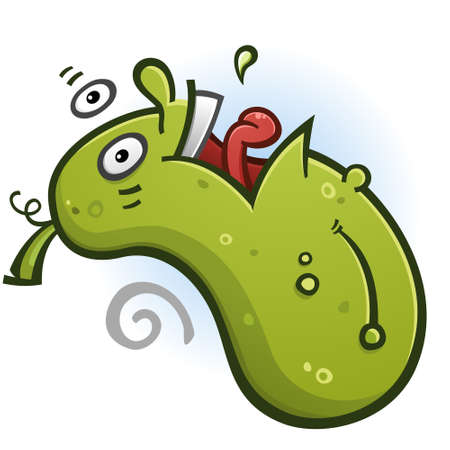 Pickle Cartoon Character Doing a Backflip
