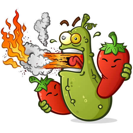 Spicy Pickle Cartoon with Hot Peppers Breathing Fire
