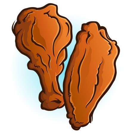 Chicken Wings Cartoon Vector Illustration 写真素材 - 122490769