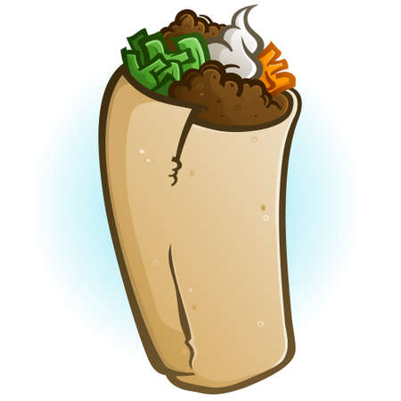 A simple isolated burrito cartoon vector on a faded blue background with loads of delicious fillings Illusztráció
