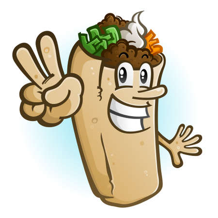 A cheerful burrito cartoon character vector illustration holding up a two finger hand gesture for peace