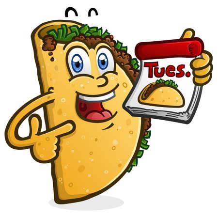 Un personaje de dibujos animados de Taco sonriente feliz sosteniendo un calendario para el martes de Taco Ilustración de vector