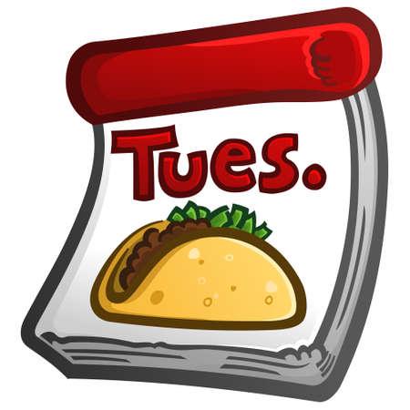 Un icono de vector de calendario para un restaurante especial de Taco Tuesday