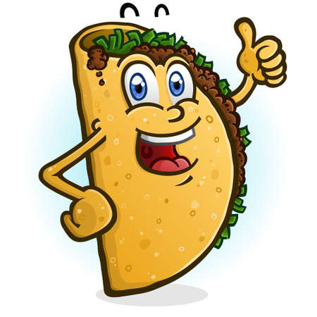 A happy smiling Taco cartoon character giving an enthusiastic thumbs up gesture