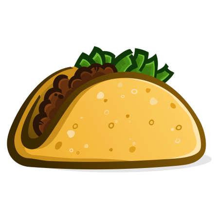 Una ilustración de icono de vector de icono de taco delicioso simple