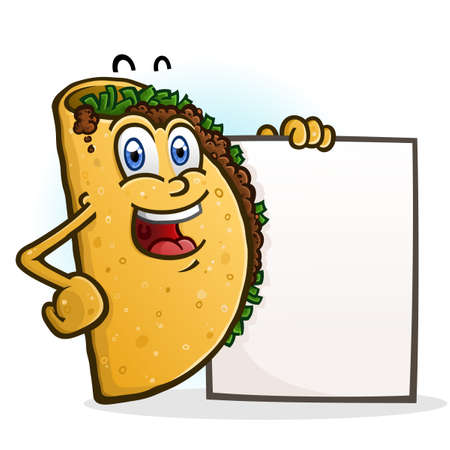 A cheerful taco cartoon character holding a blank menu sign board