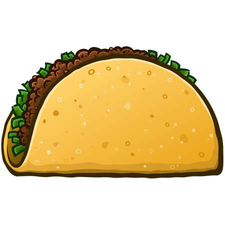 Un simple dibujo vectorial de dibujos animados de tacos con un lado en blanco