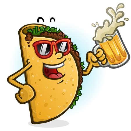 Un personaje de taco de dibujos animados alegre de fiesta con una jarra de cerveza mexicana