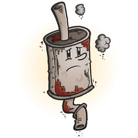 Un dibujo de un viejo personaje de dibujos animados de silenciador de coche oxidado chatarra con una cara melancólica Ilustración de vector