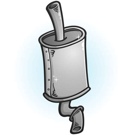 A stylized clipart drawing of a shiny new car muffler Ilustracja