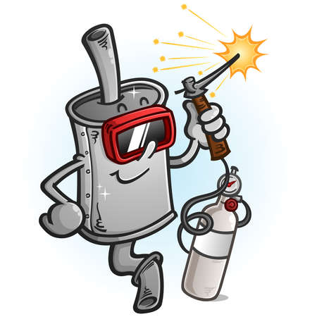 A shiny new muffler cartoon mascot wearing safety gear and using a welding torch with a gas tank with sparks flying everywhere Ilustracja