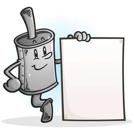 A brand new muffler cartoon holding a blank poster sign for advertising car services