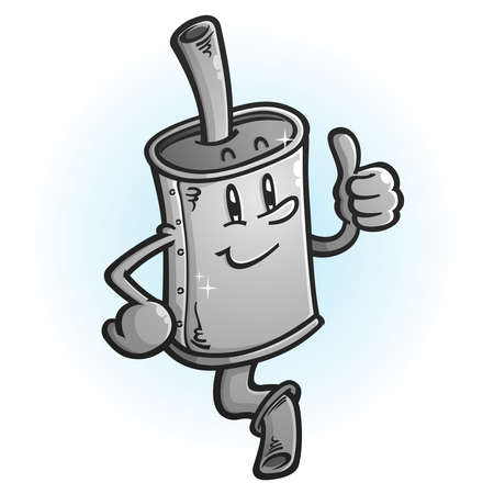 A brand new muffler cartoon mascot giving a thumbs up gesture of approval