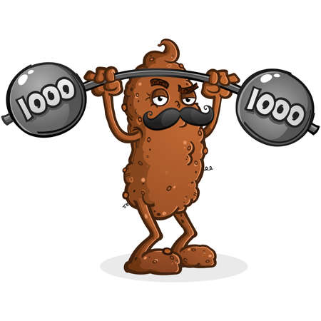 A tough and jolly poop vector cartoon character lifting a heavy barbell sporting a handlebar mustache Illustration