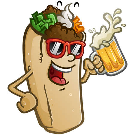 A burrito vector cartoon with attitude, wearing sunglasses and drinking a mug of cold delicious Mexican beer Ilustracja