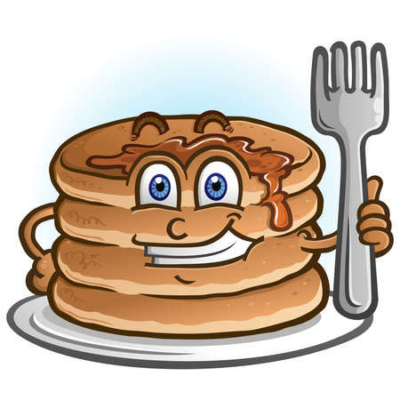 A cheerful pile of pancakes and flapjacks holding a cartoon character holding a fork Ilustracja