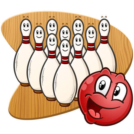 A happy red bowling ball with a full rack of pins against a retro 1950s style wooden background