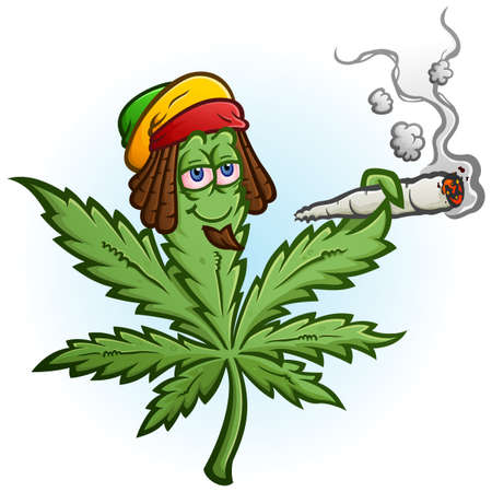 A cheerful marijuana vector cartoon character getting high and smoking a huge rolled up pot joint and wearing a Rastafari hat