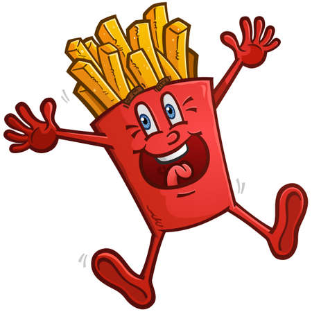 A delicious red box of golden french fries cartoon character dancing with excitement Ilustracja