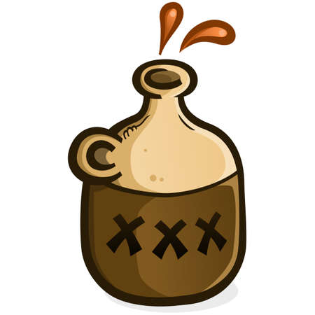A jug of moonshine vector icon illustration splashing droplets of hard liquor from the open top Vecteurs