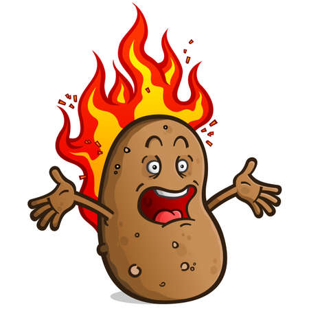 A hot potato cartoon character screaming while burning with hot fire Ilustracja