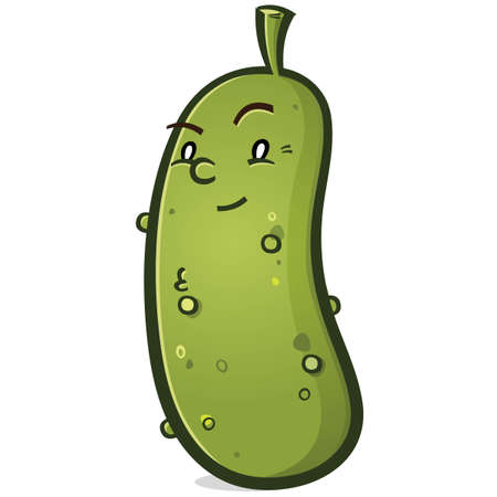A smug little pickle cartoon character giving a smirk and raising an eyebrow