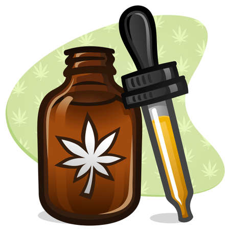 A small amber colored bottle of cbd cannabis oil with a sticker and rubber dropper vector illustration Ilustracja