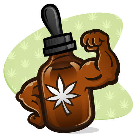An amber colored bottle of maximum strength cbd cannabis oil cartoon character with big strong bulging muscles on the arms