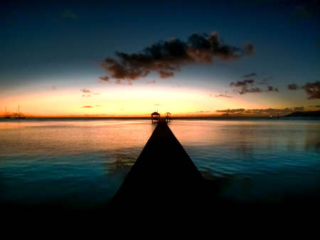 beautifull sunset in Moorea, French Polynesia photo