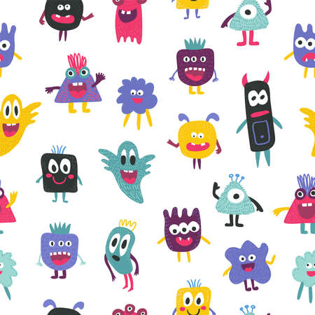 Cute seamless monster funny pattern Ilustração Vetorial