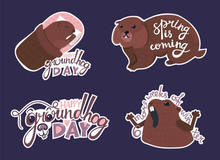 Cute set - Happy Groundhog Day with nice creative lettering and amazing pretty animals. Funny handwritten captions, quotes, phrases about season. Concept illustration. Stickers collection. Isolated Illustration
