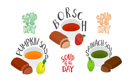 Set with hot food with lettering - red borsch, orange pumpkin and green spinach soups, bread loafs and fresh colorful appetizing apples. White background. Healthy meal collection. Soup of the day.